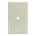 Eagle 1 Socket Hole Wall Plate Ivory Single Gang 3/8 Inch .375 Cut Out F Device Telephone Cable F-81 Coupler Flush Mount Single Plastic Hole Cover