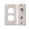 Eagle Wall Plate F Jack Telephone RJ11 Duplex Receptacle Combo White Outlet Coaxial F-81 Modular AC RG59 Coax Telephone  Phone Electrical Outlet Plate Plug Coax Cable