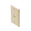 Eagle 1 Port Keystone Wall Plate Ivory Single One Cavity QuickPort Flush Mount, Easy Audio Video Data Junction Component Snap-In Insert Connection
