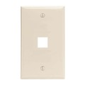 Eagle 1 Port Keystone Wall Plate Light Almond Multi Media Datacom QuickPort Flush Mount Component Snap-In Insert Connection, Part # AKFP1LA
