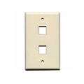 Steren 310-202AL Almond Keystone Wall Plate 2 Port Flush Mount 2 Cavity QuickPort Flush Mount, Easy Audio Video Data Junction Component Snap-In Insert Connection, Part # 310-202-AL