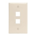 Steren 310-202LA Light Almond 2 Port Cavity Wall Plate Keystone Modular Multi Media Datacom QuickPort Flush Mount, Easy Audio Video Data Junction Component Snap-In Insert Connection, Part # 310202-LA