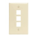 Steren 310-203AL Almond Keystone Wall Plate 3-Port Cavity Flush Mount Single Gang Audio Video QuickPort Easy Audio Video Data Junction Snap-In Insert Connection, Part # 310203-AL