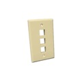 Leviton 40803i 3 Port Quick Port Keystone Wall Plate Ivory Wall Plate Ivory QuickPort / Keystone Flush Mount Easy Leviton Type Audio Video Data Junction Component Snap-In Connection, Part # 40803I