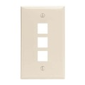 Channel Master AKFP3LA 3 Port Keystone Wall Plate Light Almond Multi Media Three Cavity Datacom Ethernet Audio Video QuickPort Flush Mount Junction Component Snap-In Insert Connection, Part # AKFP3LA