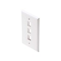 Steren 310-203WH 3 Port Cavity Keystone Wall Plate White QuickPort Flush Mount, Easy Audio Video Data Junction Component Snap-In Insert Connection, Part # 310203-WH