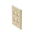 4 Port Keystone Wall Plate Ivory Leviton 40804-I QuickPort Flush Mount, Audio Video Modular Telephone Data Plug Connection, Part # 40804I