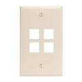 Channel Master 4 Port Keystone Wall Plate Light Almond QuickPort Flush Mount, Easy Audio Video Data Junction Component Snap-In Insert Connection, Part # AKFP4LA