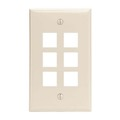 Channel Master AKFP6LA 6 Port Keystone Wall Plate Light Almond Multi Media Datacom QuickPort Flush Mount, Easy Audio Video Data Junction Component Snap-In Insert Connection, Part # AKFP6LA