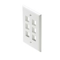Steren 310-206WH Cavity Keystone Wall Plate White 6 Port Keystone Wall Plate QuickPort Flush Mount, Audio Video Modular Telephone Data Plug Connection, Part # 310206-WH