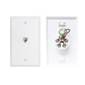Leviton Telephone Wall Plate White 6P4C Jack Modular RJ11 Textured RJ-11 Conductor 1 Pack Modular Flush Mount Audio Data Line Signal