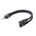 "Steren 254-055BL Python 6"" Inch 3.5 mm Male Plug Dual to Two 3.5 mm Female Jacks Stereo Y-Cable Splitter Adapter Pure Oxygen Free Copper Fully Molded 24K Gold Plated Heavy Duty Ultra Flex PVC Jacket Interconnect Cable, Part # 254055-BL"