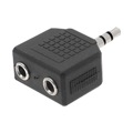 Steren 251-130 Dual 3.5mm Stereo Audio Jack to One 3.5mm Plug Y Adapter Splitter Connector Dual Output from Single Input Source Headphone Audio Jack Signal MP3 Plug Connector, Part # 251130