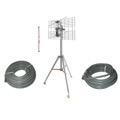Eagle 2 Bay UHF Antenna RV Tailgate Camping Kit Tripod Mast Cables Directional Outdoor RVing HDTV KIT Antenna UHF HDTV Antenna Aerial 2' FT Tripod Support, 75' FT RG6 Cable with Boot 4 1/2' Ft Mast Pipe, 25' FT RG-6 Cable