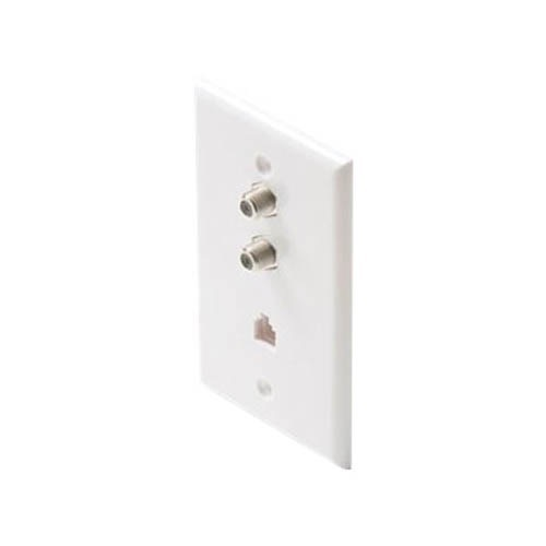 Summit Dual F-81 Coax Wall Plate Phone White RJ11 Connector 3 GHz Combo  Modular Jack Aspen Telephone, TV Antenna Video Coaxial Cable Connectors