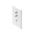 Eagle Aspen Wall Plate Dual F-81 3 GHz DIRECTV Approved Phone White 3 GHz Coaxial Cable Combo RJ11 Connector Modular Jack Aspen Telephone, TV Antenna Video Coaxial Cable Connectors, Part # DTVWP-91DW