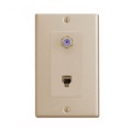DirecTV Wall Plate Telephone F Jack Ivory 3 GHz RJ11 F-81 F-Connector Phone Modular 6P4C Jack Coax Combo Jack TV Antenna Video Coaxial Cable Connectors