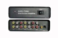 4 Way Component Video Distribution Amplifier Audio Stereo RCA Plug Connection 1x4 with Built-In Power Supply, 1 Input and 4-Set Output, Multi-Monitor Viewing, CableTronix, Part # CT-AV1X4