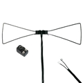 Petra 700-110 Bow Tie UHF Antenna Only Enhances UHF Inside Reception Chrome Plated Brass Flat 300 Ohm Cable with Spade Lug Connectors and 300 - 75 Ohm Balun Indoor UHF HD Digital Bowtie TV Aerial, Part # 700110
