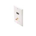 Eagle HDMI Wall Plate RCA Jack Single Red Band Female Feed Thru Faceplate White Decorator Style RCA Mono Audio F Gold Connector White Plate HDMI Female to HDMI Female, High Definition Multi-Media Interface HDTV Applications
