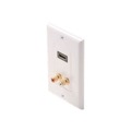 Eagle HDMI Wall Plate White 2-RCA Jacks White Plate RCA Mono Audio F Gold Connector Red/White RCA Connections HDMI Female to HDMI Female, High Definition Multi-Media Interface HDTV Applications