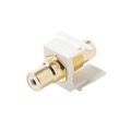 Steren 310-463WH RCA Jack to Jack White Keystone with White Band Connector Jack Insert QuickPort Audio Video Snap-In, Wall Plate Snap-In Data Junction Component Connection, Part # 310463-WH