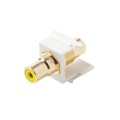 Eagle RCA Keystone Jack Coupler White Female To Female Yellow Band Gold Plate Connector Insert QuickPort Audio Video Snap-In, Wall Plate Snap-In Data Junction Component Connection