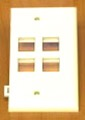 Leviton 40814-W 4 Port Wall Plate White QuickPort / Keystone Sectional Flush Mount, Audio Video Modular Telephone Data Plug Connection, Part # 40814W