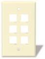 6 Port Keystone Wall Plate Ivory Leviton 40806-I Flush Mount QuickPort Audio Video Modular Phone Data Plug Connection, Part # 40806I