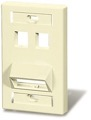 Leviton 40807-I 4 Cavity Multi-Media QuickPort / Keystone 4 Port Angled Stress Relief Flush Mount Wall Plate, Junction Insert Data Plug Connection, UL Listed, Ivory, Part # 40807I