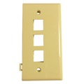 Leviton 40813-I 3 Port Sectional Wall Plate QuickPort / Keystone Flush Mount, Audio Video Data Junction Snap-In Jack Network Telecommunication Module, Ivory, Part # 40813I