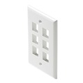 6 Port Keystone Wall Plate QuickPort White 5 Pack Leviton 40806-W Flush Mount, Audio Video Modular Telephone Data Plug Connection, Part # 40806W