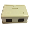 Surface Mount Box Ivory 2 Port Jack Block Plastic Enclosure Box Junction Modular Network Telephone Jack Data Outlet