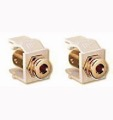 Banana Jack Keystone Insert Speaker Gold Ivory 2 Pack Leviton 40837-I QuickPort Gold Audio Video, 12 Gauge Data Junction Wall Plate Snap-In Component Connection, Part # 40837I