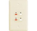 RCA Speaker Jack Wall Plate Ivory 4 Terminal Dual Cable Wire Connect AV 2 Pair Flush Mount Connection Audio Signal Stereo 16 Gauge Hook-Up Outlet Face Cover, Part # AH300, AH-300