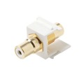 Vanco RCA Keystone Insert Jack Female to Female Coupler Gold Plate WHITE Band Female QuickPort Audio Video White Snap-In, Wall Plate Snap-In Data Junction Component Connection