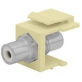Eagle RCA to F Female Keystone Jack Insert Ivory Opaque Center Band Jack with RCA to F-81 Snap-In QuickPort Coaxial to RCA Video Cable Plug Connector Wall Plate Module