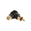 Steren 251-111 RCA Right Angle Adapter Female to Male Gold Plate 90 Degree Single Plug 1 Pack Stereo Cable Connector Audio Video Tool Less Hook-Up Component Connector, Part # 251111