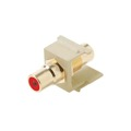 Steren 310-461IV RCA Keystone Female to Female Insert Connector Jack Ivory RED Band Ivory QuickPort Audio Video Snap-In, Wall Plate Snap-In Data Junction Component Connection, Part # 310461-IV