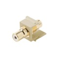 Eagle RCA Keystone Jack Female to Female Ivory White Band Gold Insert Connector Jack Ivory WHITE Band QuickPort Audio Video Snap-In, Wall Plate Snap-In Data Junction Component Connection