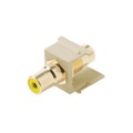 Steren 310-464IV RCA Jack to Jack Keystone Ivory with Yellow Band Connector Insert QuickPort Audio Video Snap-In, Wall Plate Snap-In Data Junction Component Connection, Part # 310464-IV