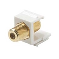 Steren 310-416WH-10 Single F to F Gold Plate Keystone Insert White F-Type Barrel Connector F81 Jack 75 Ohm Snap-In F-81 QuickPort Coax Cable TV Video Signal Plug Wall Plate Module Component, 10 Pack, Part # 310416-WH-10