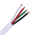 Eagle 500' Ft 16 AWG Ga 4-Conductor In Wall Speaker Cable White Pro Grade Audio Digital Speaker Stranded Copper High Strand Count PVC Jacket UL Listed Pull Box In-Wall Flexible Signal Transfer