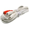 Eagle 6' FT 3.5mm Male to 2 - 3.5mm Female Cable Dual iPod Y Stereo White 3.5mm Male to Dual 3.5mm Female Adapter Plug Shielded Audio Splitter Cable Signal Separating Component Jack Adapter Cable