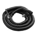 Eagle 15' FT Handset Coiled Cord Telephone Black Modular 4 Conductor UL RJ22 Plugs Each End RJ-22 4P4C Phone Line Telephone Hand-Set Snap-In Replacement