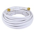 Eagle 25' FT RG59 Coaxial Cable White with F-Connector Each End 75 Ohm Factory Installed Gold RG-59 Coax Audio Video Signal Component Shielded TV Jumper