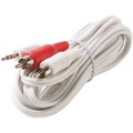 Eagle 12' FT 3.5mm Male to 2 RCA Y Cable iPod White Dual Plug Cable White Stereo 3.5mm Male to Dual RCA Male Adapter Plug Shielded Audio Splitter Cable Signal Separating Component Jack Adapter Cable