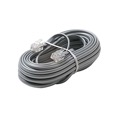 Eagle 7' FT  Data Cord Cable Silver Satin 4 Conductor Processing Communication Flat Modular 28 AWG Wire RJ11 6P4C Plug Jack Connect Gray Data Communication Extension Cable