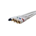 Eagle 12' FT 3 RCA Component Cable With Toslink Fiber Optic Video Python A/V Cord with Gold Plated Ends Toslink Dolby Audio Video TV Connection Component Premium
