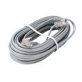 Eagle 25 FT Data Cable RJ11 6P4C 4 Conductor Silver Satin 28 AWG Modular Flat Transfer Wire RJ11 6P4C Plug Jack Connect Silver Satin Gray Data Communication Extension Cable